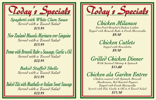 Garden Pizza - Daily Specials